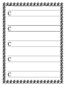 Gingerbread Man Uppercase Handwriting Sheets