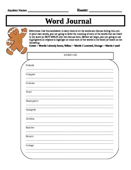 Gingerbread Man Word Journal
