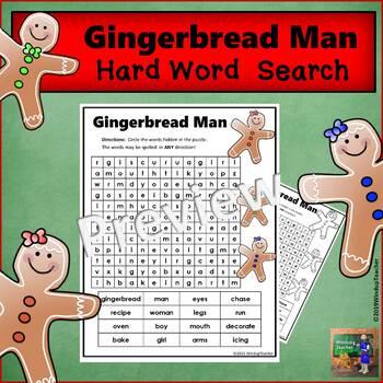 Gingerbread Man Word Search - Hard