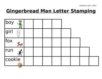 Gingerbread Man Words Letter Stamping