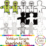 Gingerbread Clip Art Worksheet Elements for Tracing Cutting Puzzle Maze