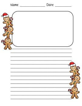 Gingerbread man writing paper