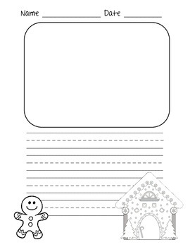 Gingerbread Man Writing Paper with Lines for Primary and Elementary