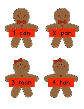 Gingerbread Man -an Word Family Activity