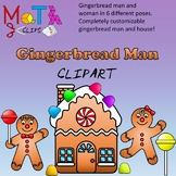 Gingerbread Man and House Clipart