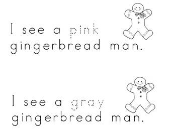 Gingerbread Man emergent reader--color words