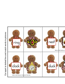 Gingerbread-Match short vowel picture to CVC word card