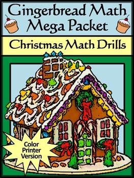 Christmas Activities: Gingerbread Math Christmas Math Drills Mega Packet