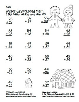 """Gingerbread Math"" 2 Digit Addition Regrouping Common Core! (color & black line)"