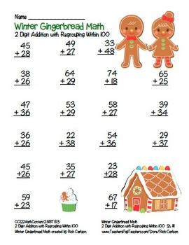 """""""Gingerbread Math"""" 2 Digit Addition With Regrouping Common Core! (color version)"""