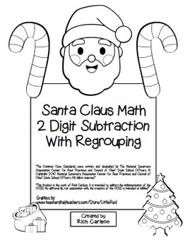 """""""Gingerbread Math"""" 2 Digit Subtraction With Regrouping Common Core! (black line)"""