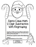 """""""Santa Claus Math"""" 2 Digit Subtraction With Regrouping Common Core! (black line)"""