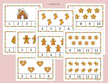 Christmas Count and Clip Task Cards for Math Center - Cute Gingerbread Theme