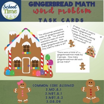 Gingerbread Math -  24 Task Cards in Color
