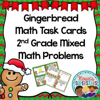 2nd Grade Gingerbread Math Task Cards