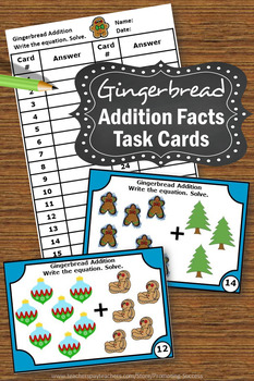 Gingerbread Man Christmas Math Activities Kindergarten Addition Facts Task Cards
