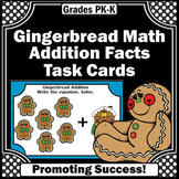Christmas Math Centers, Kindergarten Addition Task Cards, Gingerbread Men Theme