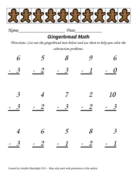 Gingerbread Math Addition and Subtraction