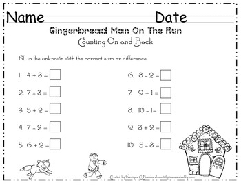 Gingerbread Math Addition and Subtraction Strategies