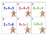 Gingerbread Math Around the Room : Adding 3 numbers