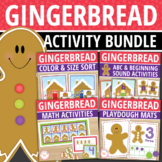 Gingerbread Activities Bundle | Gingerbread Man Math and L