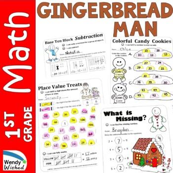 December Gingerbread Math CCSS First Grade Just Print It (