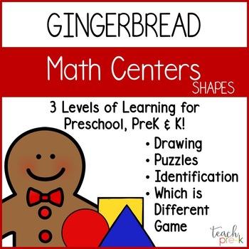 Gingerbread Math Centers! 3 Levels of Learning fun for Preschool, PreK & K