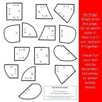 Gingerbread Math Centers: Addition Puzzles: Christmas Math Centers Numbers to 20