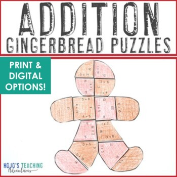 ADDITION Gingerbread Math Center Puzzles | Christmas Activity w/ Numbers 0 to 20
