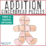 ADDITION Gingerbread Math Center Puzzles | Christmas Activ