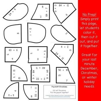 DIVISION Gingerbread Man Activities | FUN Christmas Math Games for Grades 3-5