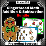 Gingerbread Math Centers, Kindergarten Christmas Addition and Subtraction Cards