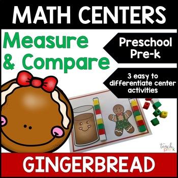 Gingerbread Math Centers: Measurement & Size for Preschool, PreK, & K