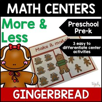 Gingerbread Math Centers: More, Less, the Same for Preschool, PreK & K