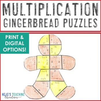 Gingerbread Math Centers: Multiplication Puzzles   Gingerbread Activities