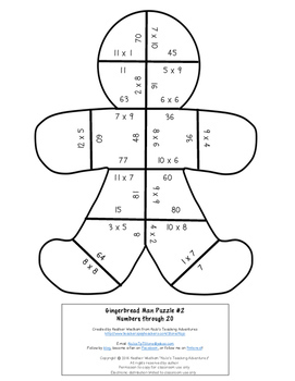 MULTIPLICATION Gingerbread Man Craft Puzzle | FUN Christmas Math Center