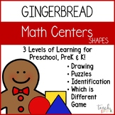 Gingerbread Math Centers: Shapes for Preschool, PreK, &K