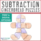 SUBTRACTION Gingerbread Man Math Puzzles | FUN Christmas Worksheet Alternative