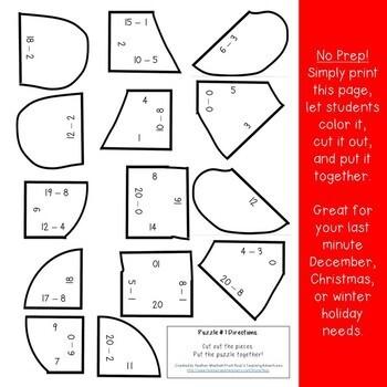 SUBTRACTION Gingerbread Man Math Puzzles | FUN Christmas Worksheet Alternative