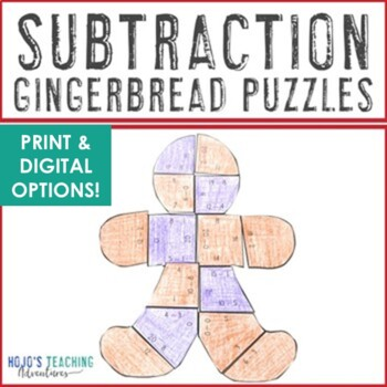 Gingerbread Math Centers: Subtraction Puzzles