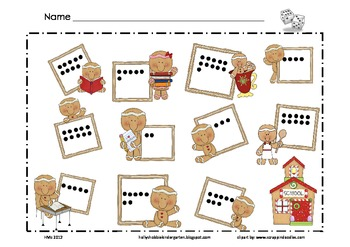 Gingerbread Math Mat ~ Roll and Cover (or) Color Game, Addition
