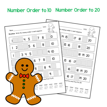 Gingerbread Math:  Sequence Numbers to 20:  Poem and Game