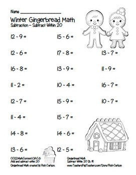 """""""Gingerbread Math"""" Subtract Within 20 - Common Core - Fun! (black line version)"""