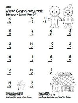 """Gingerbread Math"" Subtract Within 20 - Common Core Fun! (blackline & color)"