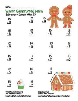 """Gingerbread Math"" Subtract Within 20 - Common Core -  Fun! (color version)"