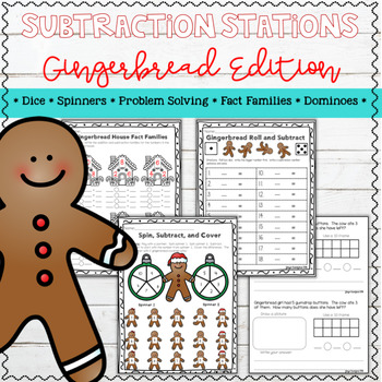 Gingerbread Math Subtraction Stations