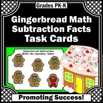 Christmas Math Activities, Kindergarten Subtraction Task Cards, Gingerbread Men