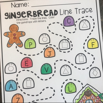 Gingerbread  Math and Literacy Worksheets for Preschool (December)
