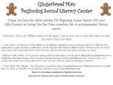 Gingerbread Men Beginning Sounds Literacy Center