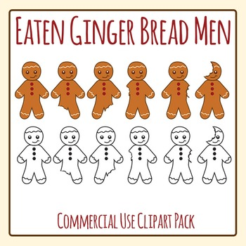 Gingerbread Men Being Eaten Clip Art Set for Commercial Use
